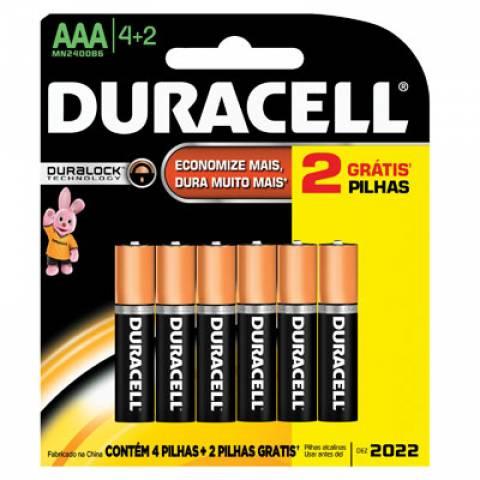 Pilha AAA Alcalina Duracell Blister c/ 6un.