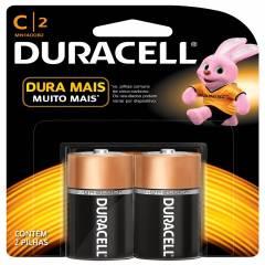 Pilha Tipo C (média) Alcalina Duracell Blister c/ 2un.