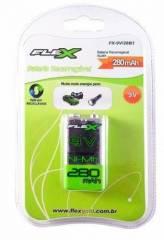 Bateria 9V 280mAh Recarregável Flex Blister c/ 1un.