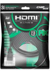 Cabo HDMI 2.0 3m 4k Ultra HD 3D Blindado PIX