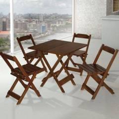 Jogo de Mesa de Madeira Dobrável 70x70 com 4 Cadeiras Maplan