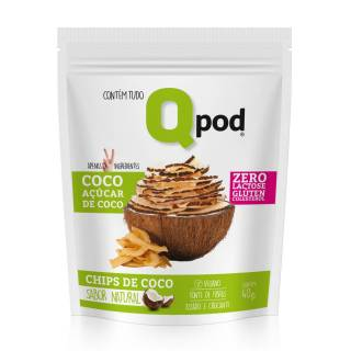 Chips de Coco assado Com Açúcar de Coco – Sabor Natural – Qpod – 40g