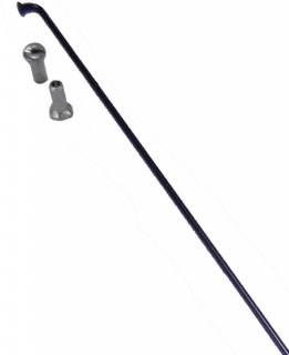 Raio Inox Preto com Niple 2,0 x 255mm - Shadar | BIKE ALLA CARTE