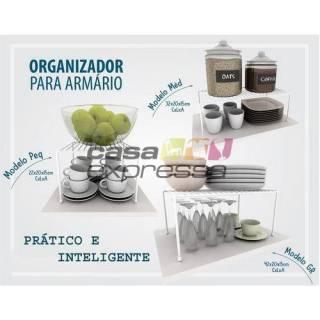 Kit Organizador de Armário de Cozinha Aramado Prateleiras 3 unidades Branco em Aço | CASA EXPRESSA