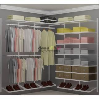 Closet Aramado em L  CLB03 - 1,90 x 1,90m | CASA EXPRESSA