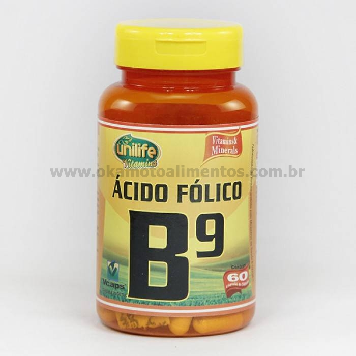 Vitamina B9 Ácido Fólico Unilife 60 cápsulas 500mg