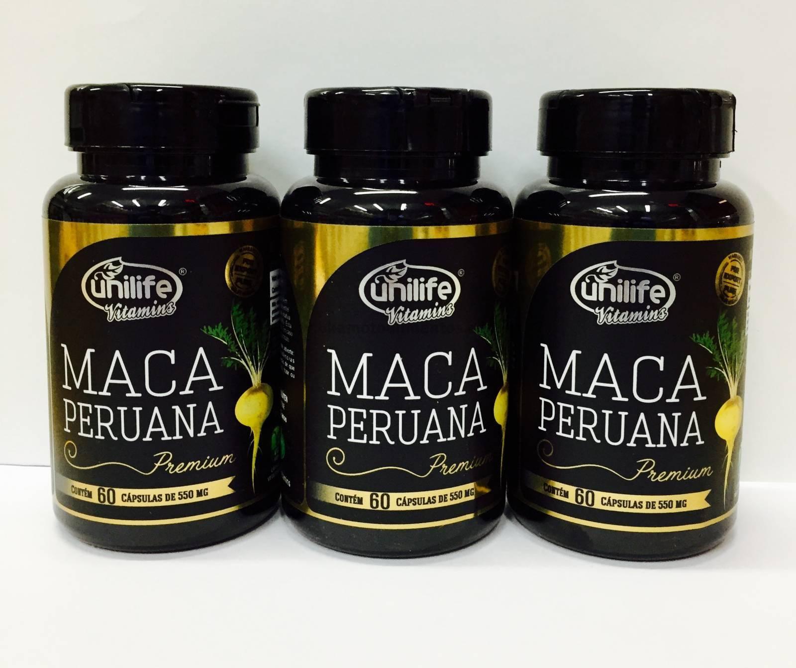 3 potes de Maca Peruana Premium Unilife 100% Pura - 60 cápsu
