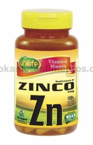 Zinco Unilife 60 cápsulas 500mg