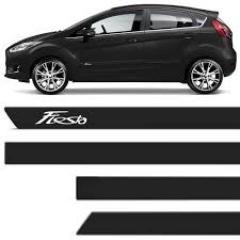 Friso Lateral Ford New Fiesta  2012 Preto Bristol Personalizado 4 Peças