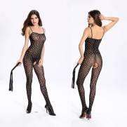 Macacão Arrastão Bolinhas Abertura Íntima - Bodystocking | Intima Sedução - Sex Shop, Produtos Eróticos