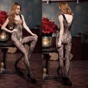 Macacão Arrastão Floral Abertura - Bodystocking | Intima Sedução - Sex Shop, Produtos Eróticos