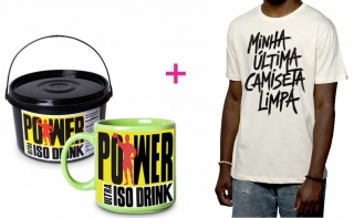 Kit Fitness - Caneca Power Iso Drink + Camiseta Última Camiseta