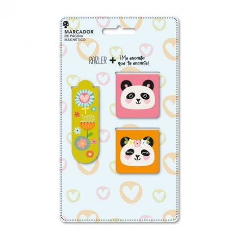 Kit 3 Marcador de página magnético Panda