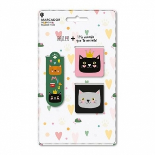 Kit 3 Marcador de página magnético Gatos