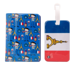 Kit Viagem Paris - Porta Passaporte e Etiqueta Bagagem